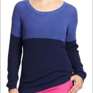 Color block blue and navy sweater